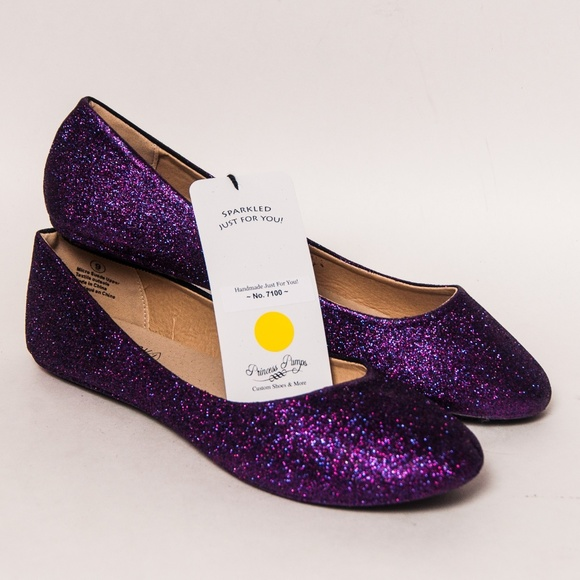 9afc9a3749ae Princess Pumps Shoes | Razzle Purple Glitter Ballet Flats Slippers ...